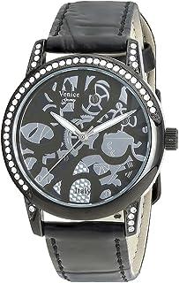 Venice V8086-IPB-B Crocodile Embossed Leather Stones Embellished Bezel Round Analog Watch for Women - Black