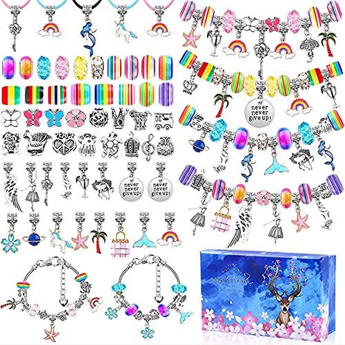 BANNESE Kit para Hacer Pulseras, 112 Piezas De Joyería DIY Arts Craft Sets Kits para Hacer Bisutería Regalo De Año Nuevo Cumpleaños Navidad para Niñas De 5-17 Años