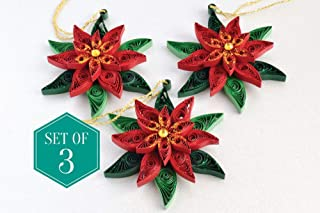 Paper Decorative Ornaments - Poinsettia Christmas decorations, Holiday ornaments, Quilling ornaments, Decoration set, Paper quilling decoration