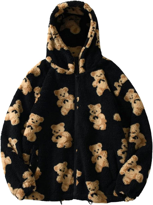 Winter Lengthened Plush Long Sleeve Outwear for Women's Fashion Cute Bear Print Hooded Sweatshirts Casual Zipper Coat