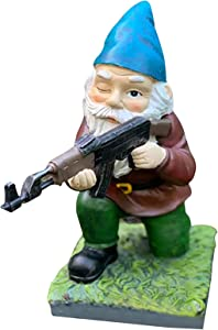 Military Gnomes Funny Army with Guns AK47 Garden Decor Outdoor Statue Figurines Lawn Yard Decoration Resin (A)