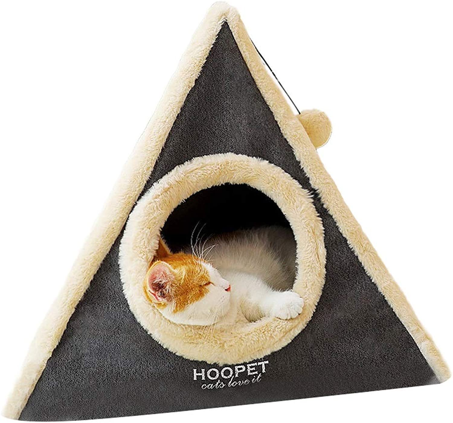 QYQ Kennel Cat Nest Pet Mat Small Cone Tower Shape Four Seasons Universal Breathable Soft Fluff Resistant Bite Fully Detachable Washable Dirty Pet Nest for Pet Playing And Sleeping