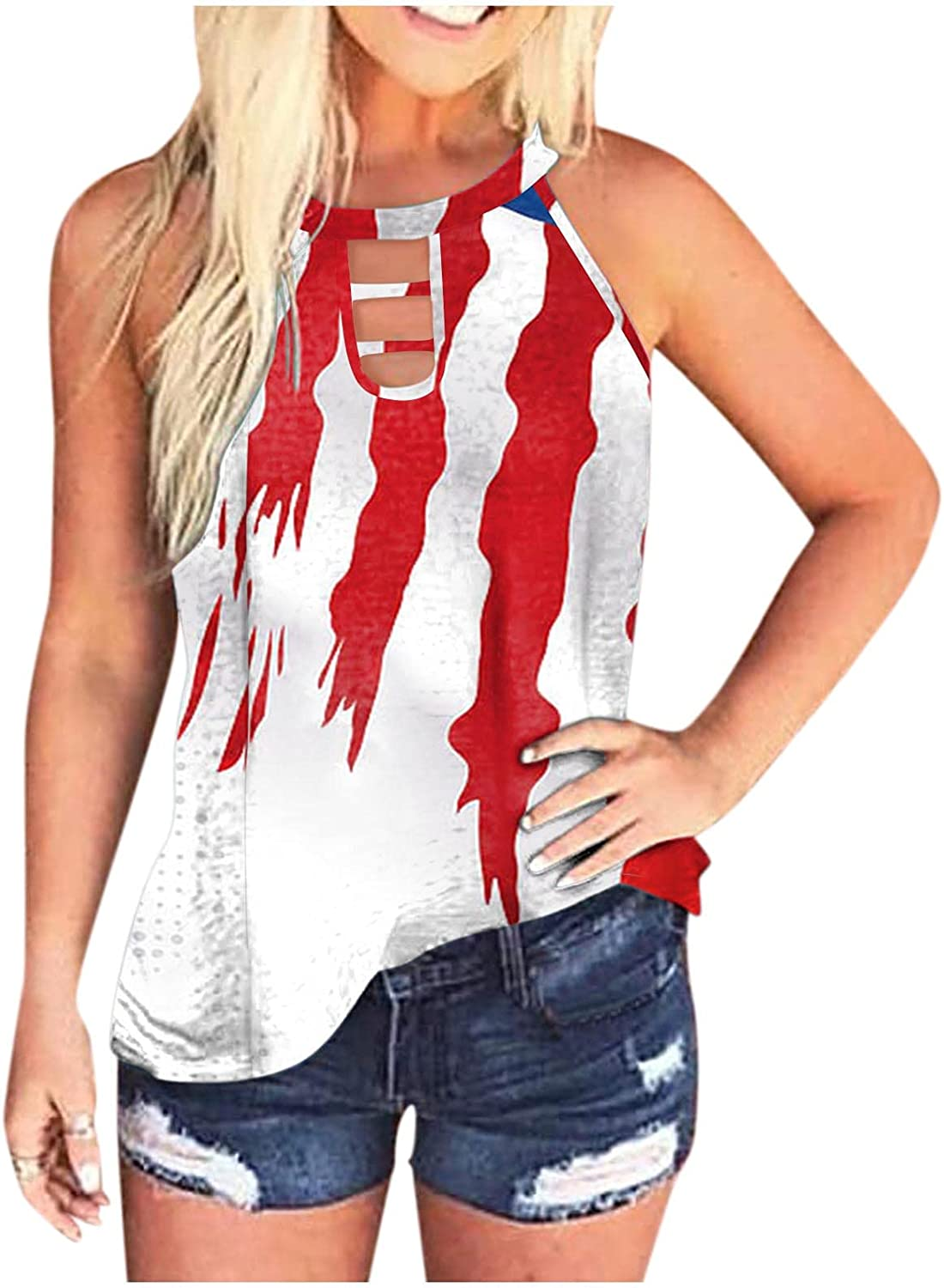 Cute Tops for Women Trendy Summer,Women's Scoop Neck Basic Tank Tops Summer Casual Slim Fitted Sleeveless Tie Dye Camis Tee Shirts