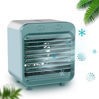 Tragbare Klimaanlage Luftk/ühler,Mini Luftk/ühler Mobile Klimager/äte,Luftbefeuchter/&Luftreiniger Ventilator mit USB Anschlu/ß 3 Stufen und 7 Farben LED Nachtlicht Wei/ß D.R