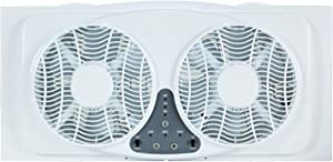 """Simple Deluxe 9-Inch Dual Twin Window Fans Reversible Air Quiet Flow with Exhaust and Intake, 9"""", White"""