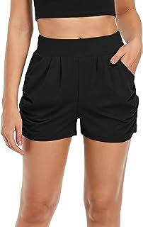 SEVEGO Women's Lightweight Stretch Harem Shorts with Pockets Lounge Casual High Waist Yoga Shorts