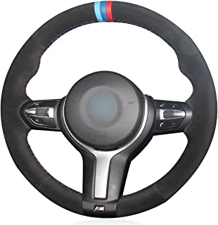 MEWANT Black Suede Blue Dark Blue Red Marker Steering Wheel Covers for BMW F87 M2 2015-2017 F80 M3 F82 M4 2 M5 2014-2017 F12 F13 M6 F85 X5 M F86 X6 M F33 2013-2017 F30 M Sport 2013-2017