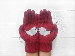 Valentine's Day, Love Bird Gloves, Couple Gloves, Deep Red Gloves, Unique Gloves