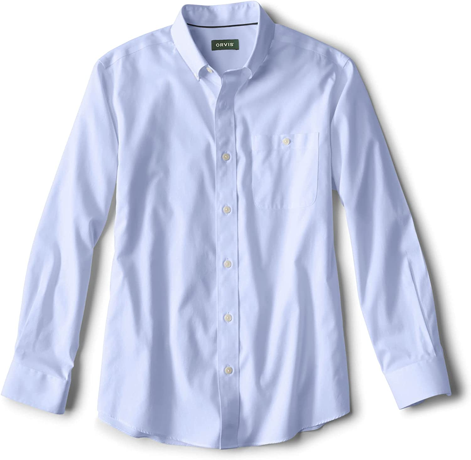 Orvis Men's Solid Pinpoint Wrinkle-Free Comfort Stretch Long-Sleeved Shirt