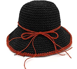 PengCheng Pang 100% Handmade Women Crochet Straw Sun Hat Floral Sun Hats Summer Beach Folding Lady Casual Caps (Color : 8, Size : 56-58CM)