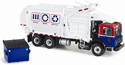 First Gear New 1:34 Collection - Blue RED White Mack TERRAPRO with WITKKE Front Load Refuse Loader Fork Works with Trash BIN Diecast Model Car