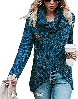 Glaiidy Suéter De Punto para Mujer Suéter De Cuello Alto Jersey De Punto Suéter De Gran Tamaño Otoño Invierno Suéter Cálid...