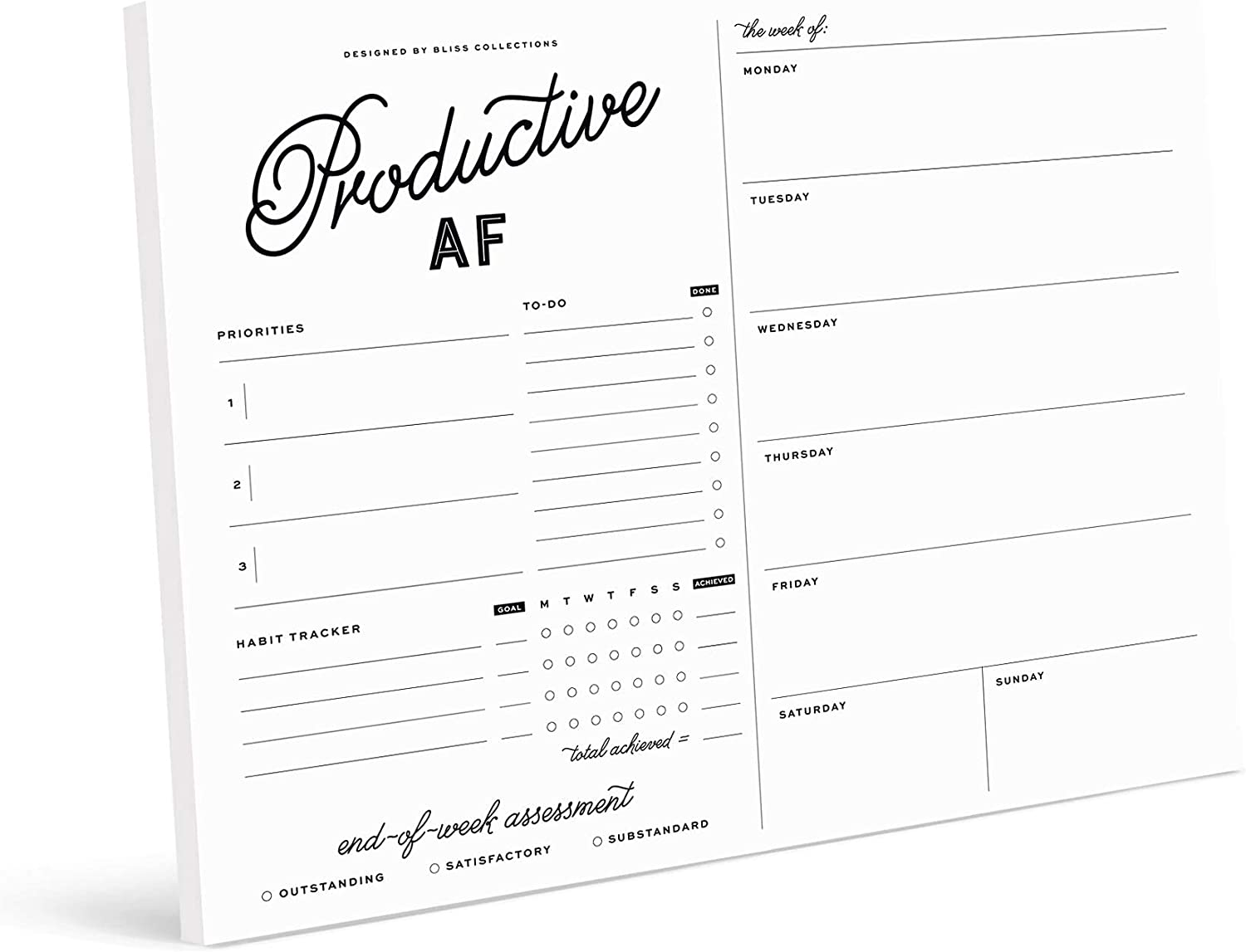 Bliss Collections Productive Max 89% OFF AF Weekly 50 with Popular overseas Planner 8 Undated