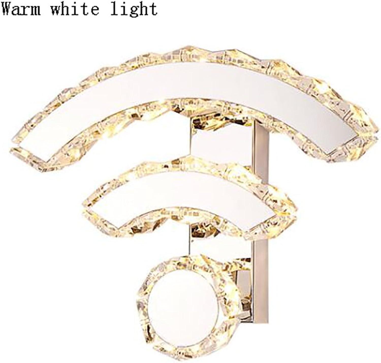 TOYM UK 9W LEDWIFI Wandleuchte, Spiegel Edelstahl K9 Kristall Moderne Kreative Nachttischlampe für Wohn-   Esszimmer Schlafzimmer   Flur (Farbe   Warmes weies Licht)