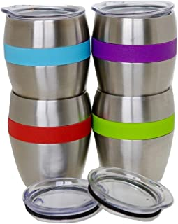 Stainless Steel Wine Glasses with Lids, Set of 4, Double Wall Insulated Stemless Wine and Drink Tumblers with Spill-Resistant Lids with Built -in 4 Color Comfort Grips