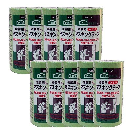 日東電工 マスキングテープ No.720 みどり 15mm×18m 8巻入り J7660 10パック [養生テープ]