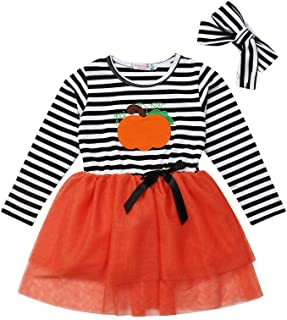 Toddler Girl Halloween Costumes Kids Long Sleeve Pumpkin Striped Tulle Dress Skirts with Headband Outfits Sets