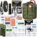 EVERLIT 250 Pieces Survival First Aid Kit Molle System Compatible Survival Emergency Kit Bag for Camping Hunting Car Earthquake