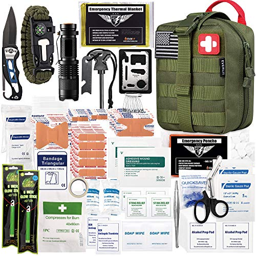 EVERLIT 250 Pieces Survival First Aid Kit Molle System Compatible Survival Emergency Kit Bag for...