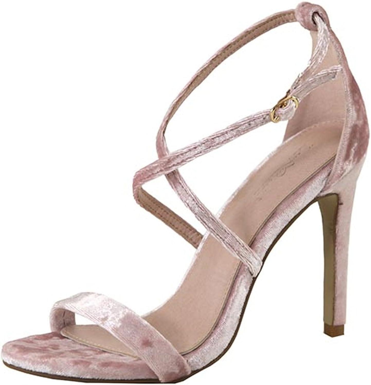 Dusty Pink Velvet Open Toe Strappy High Heel Pump Dress Sandal shoes, Size 6