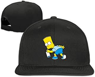 Qmad Men's Surprised Simpson A Flat-Brim Hats Adjustable Caps