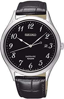 Seiko Mens Analogue Quartz Watch with Leather Strap SGEH77P1