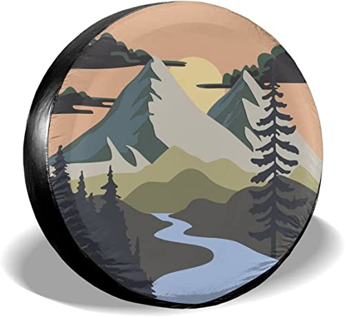 """2021 Gwomo Camping Nature Mountain popular Spare Tire Cover Mountain Adventure Wheel Protectors Tyre Covers Weatherproof Wheel Covers Universal Fit for Trailer Rv SUV Truck Camper Travel Trailers new arrival 14"""" 15"""" 16"""" 17"""" outlet sale"""