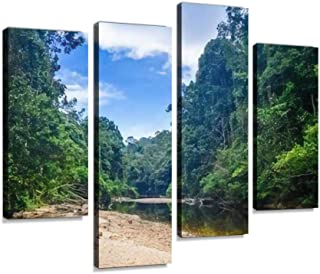 River in Jungle rainforest Taman Negara national park, Malaysia Canvas Print Artwork Wall Art Pictures Framed Digital Prin...