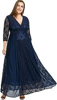 Women's Plus Size V-Neckline Floral Lace Top Dress Cocktail Party Swing Dress