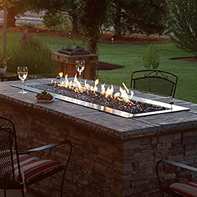 AMERICAN HEARTH OL60TP18N Carol Rose 60-Inch Outdoor Manual Ignition Linear Fire Pit - Natural Gas