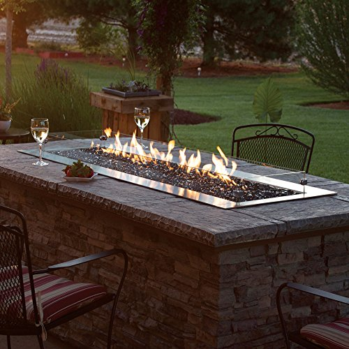 AMERICAN HEARTH OL48TP18N Carol Rose 48-Inch Outdoor Manual Ignition Linear Fire Pit - Natural Gas