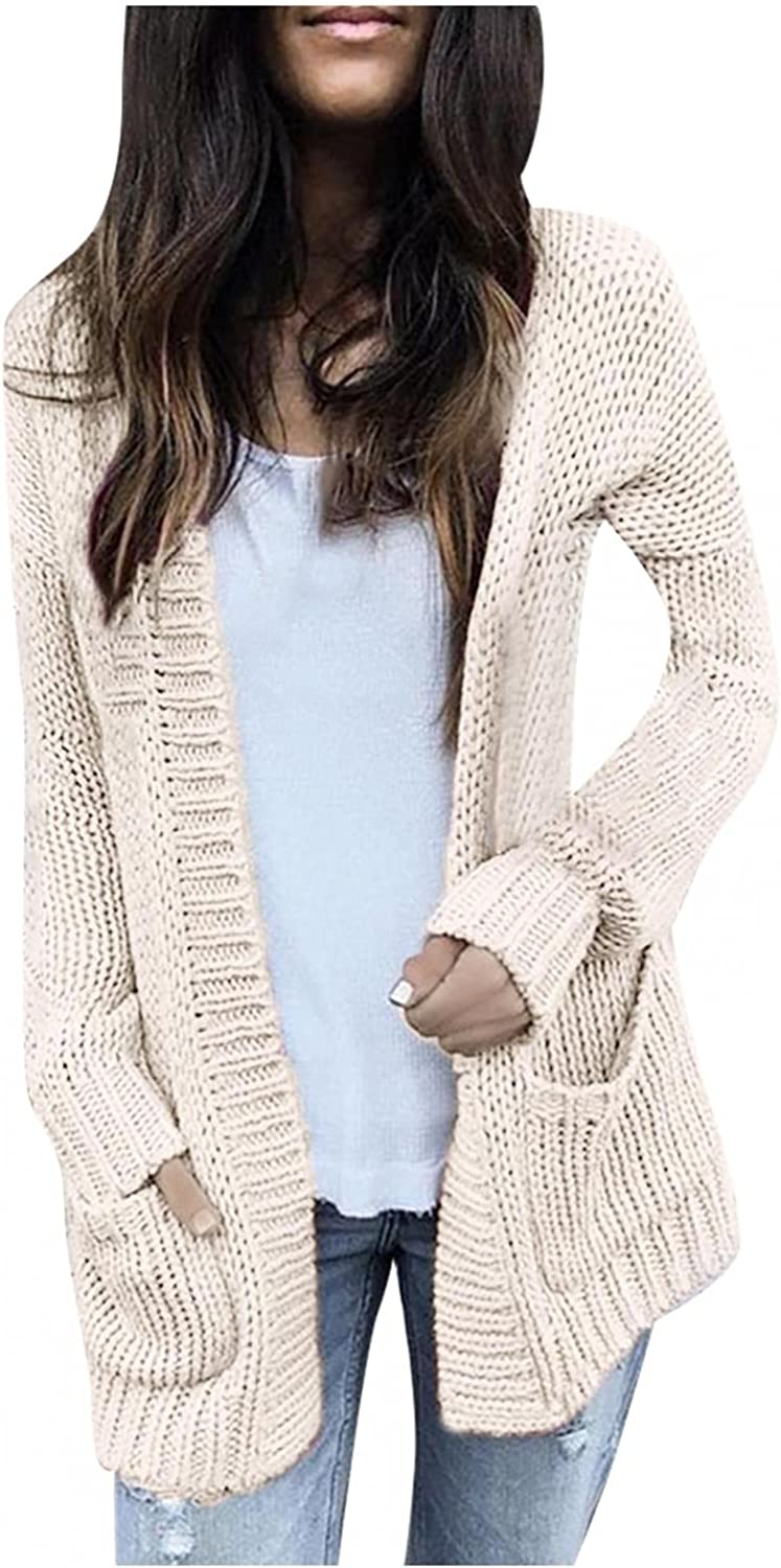 Gibobby Sweaters for Women,Womens Open Front Knit Cardigan Long Sleeve Oversized Sweater Chunky Pockets Coat Outwear