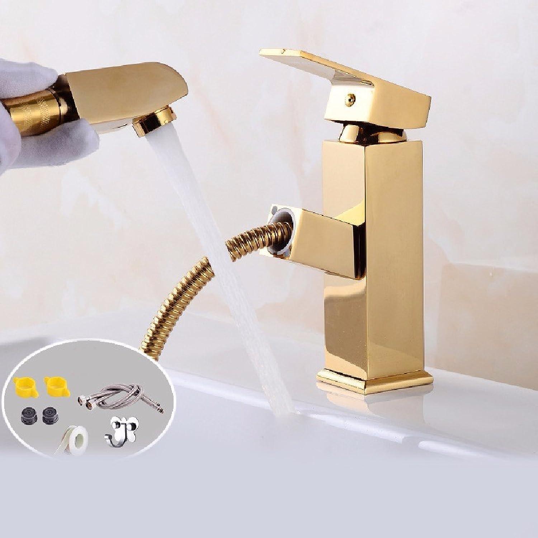 Bijjaladeva Wasserhahn Bad Wasserfall Mischbatterie Waschbecken Waschtisch Armatur für BadezimmerZiehen Sie Waschbecken Einzelne Bohrung es Waschen ausziehbaren Wasserhahn