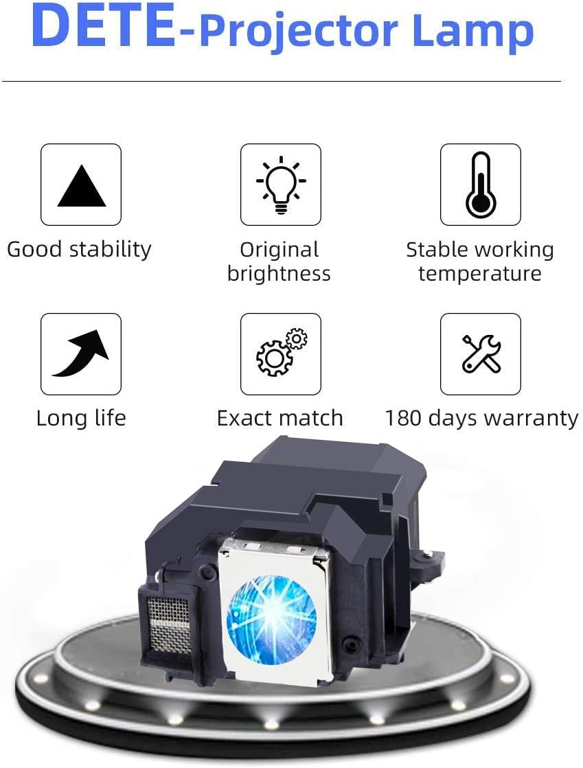 DT ELPLP54/ELPLP58 Replacement Projector Lamp Bulb for Epson V13H010L54/V13H010L58 PowerLite Home Cinema 705HD EX31 EX51 EX71 EB-S7 EB-X7 EB-S8 EX5200 EX7200 EX3200 S10+ Projector Bulb with Housing
