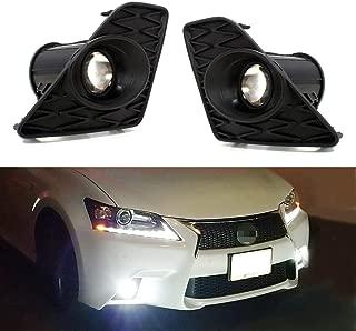 iJDMTOY F-Sport 15W High Power Projector LED Fog Light Kit w/Bezel Covers For 2013-2015 Lexus GS350 GS460 GS450h, 6000K Xenon White