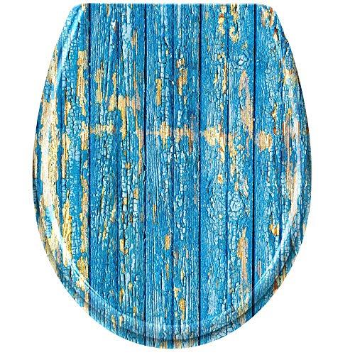 LZQ WC Sitz Toilettendeckel mit Absenkautomatik Toilettensitz Universal Größe Toilettensitz aus Hartplastik Antibakteriell Klodeckel aus Duroplast Blaue Wand