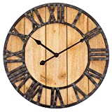 Westclox Wall Clock Large Wooden Vintage Clock with Roman Numerals - Battery Operated Clock for Living Room, Bedroom, Kitchen - Home Decor Gift for Housewarming (Rustic)