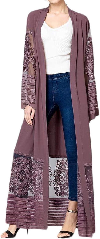 Lutratocro Womens Embroidery Turkey Gown Abaya Mesh Islamic Muslim Dresses