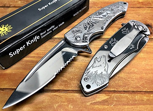 "Wolf Pocket Knife, Spring Assisted Tactical Knife with Stainless Steel 3.5"" Blade for Tactical Rescue, Self Defense, Hunting, Survival Glass Breaker Knives (Silver)"