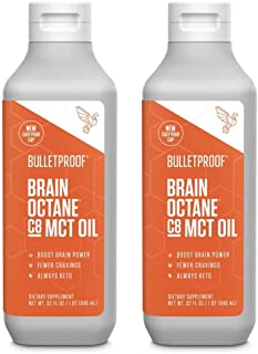 Bulletproof Brain Octane 100% C8 MCT Oil from Coconut Oil 2-Pack, 32 Fl Oz Each, Provides Mental and Physical Energy, Keto...