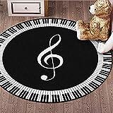 ANBAI Alfombra para sala de estar en blanco y negro símbolo de música patrón antideslizante ronda alfombra de la habitación de los niños alfombra de piso 1_60 cm de diámetro