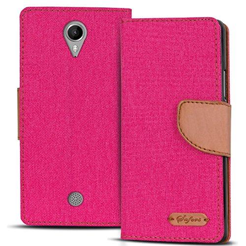 Conie TW45860 Textil Wallet Kompatibel mit Wiko Tommy, Textil Hülle Klapptasche mit Kartenfächer Etui Slim Cover für Tommy Handyhülle Jeans Pink