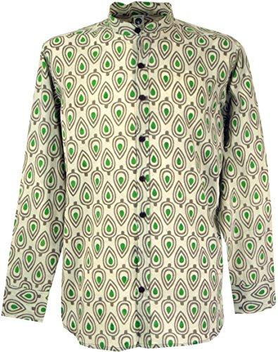 GURU SHOP Freizeithemd, Goa Hemd, Langarm Herrenhemd mit Afrikanischem Druck, Stehkragenhemd, Sand, Baumwolle, Size:M, Hemden Alternative Bekleidung