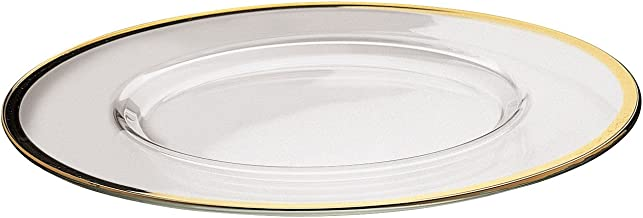Barski - European Glass - Clear - Charger - Plate - with Gold Rim - 12.5