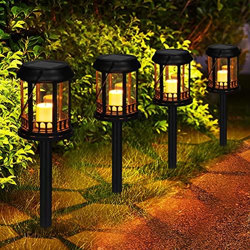 Linternas Solares Jardín GolWof 4 Piezas Luz Solar LinternaExterior Jardin Impermeable Vela Parpadeante Amarilla Cálida Farol Solar Exterior Decoración para Patio Yarda Césped (Negro)