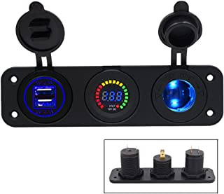 TurnRaise 2.1A 2 Puertos USB Cargador + Color LED Voltímetro Digital + 12V/24V Encendedor Enchufe 3 Agujeros Panel para Coche Moto Barco (3 en 1)