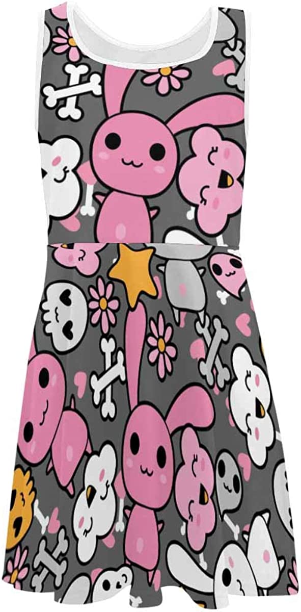 InterestPrint Girls Sleeveless Dresss Crew Neck Casual A-Line Sundress 4-13 Years Cute Kawaii Pattern Pink 2T