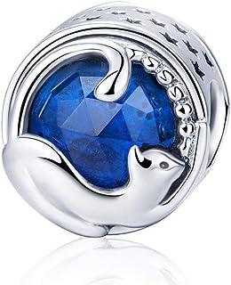Charm in argento Sterling 925 per braccialetto europeo, con panda, gatto, albero genealogico, uccello, pinguino, alla moda