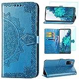 Yohii Funda para Samsung Galaxy S20 FE/ S20 FE 5G/ S20 Lite + Protector de Pantalla, Libro Caso Cuero PU Soporte Plegable Ranura para Tarjeta Cartera Magnético Flip Carcasas - Azul