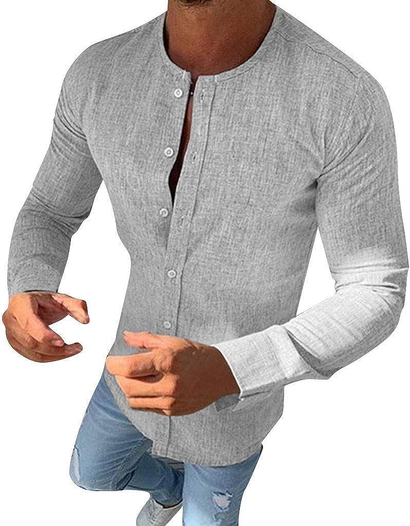 WUAI-Men Button Up Shirts Linen Beach Long Sleeve Hippie Casual Summer Beach Yoga Shirt Tops Blouse S-3XL